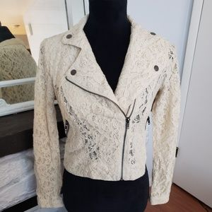 Kirra cream lace bomber jacket. Size Small